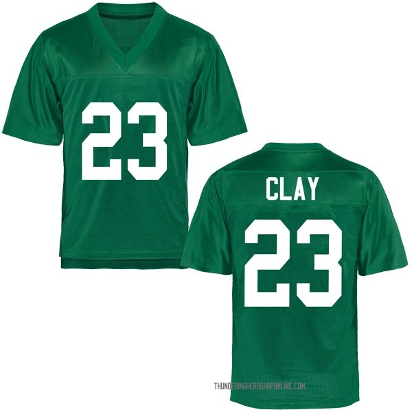 Men's Chad Clay Marshall Thundering Herd Game Green Football College Jersey