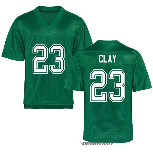 Men's Chad Clay Marshall Thundering Herd Replica Green Kelly Football College Jersey