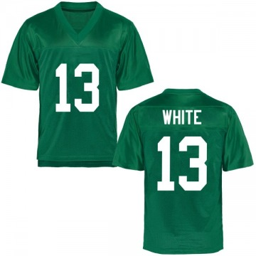Men's Jackson White Marshall Thundering Herd Replica White Green Football College Jersey