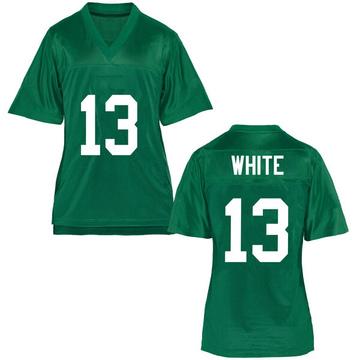 Women's Jackson White Marshall Thundering Herd Game White Green Football College Jersey