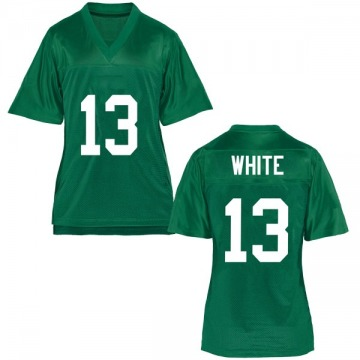 Women's Jackson White Marshall Thundering Herd Replica White Green Football College Jersey