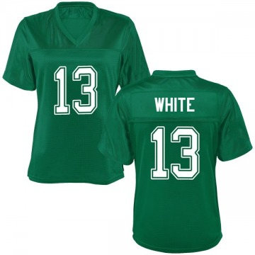 Women's Jackson White Marshall Thundering Herd Replica White Kelly Green Football College Jersey