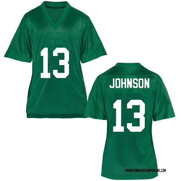 Women's Nazeeh Johnson Marshall Thundering Herd Game Green Football College Jersey