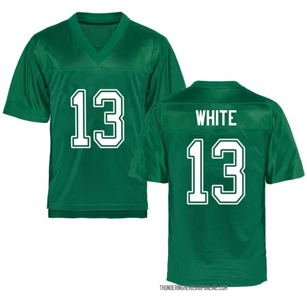 Youth Jackson White Marshall Thundering Herd Replica White Kelly Green Football College Jersey